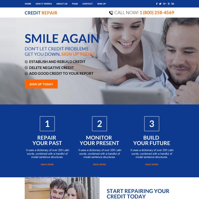 professional credit repair sign up capturing responsive website design Credit Repair example