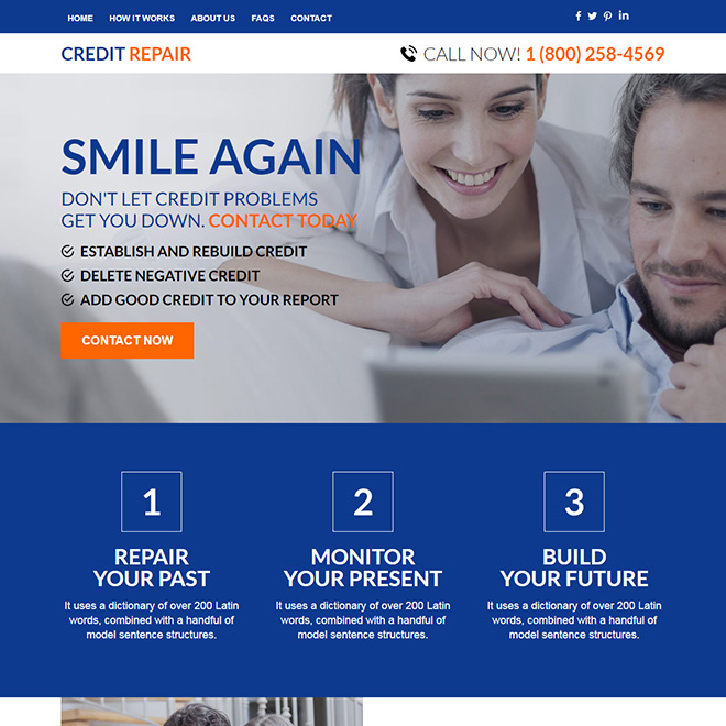 professional credit repair sign up capturing responsive website design Credit Repair example