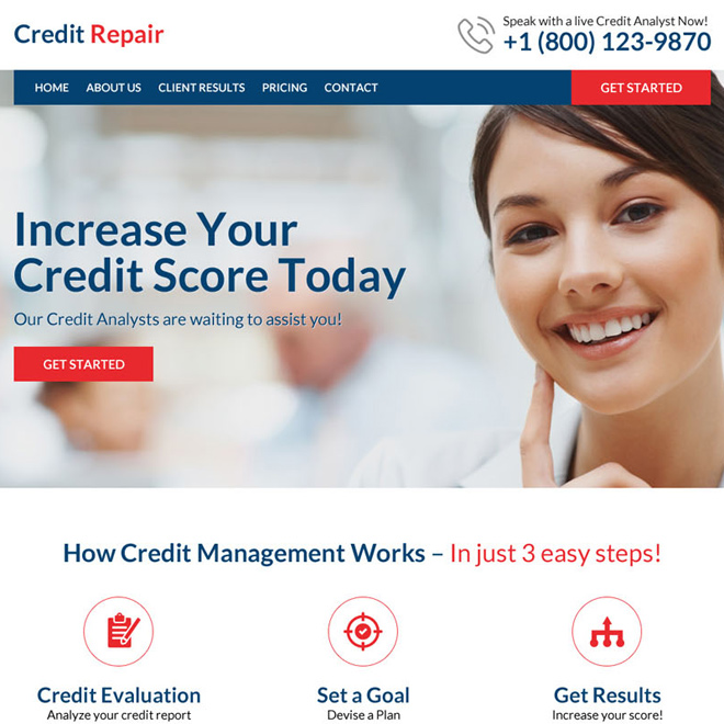 professional and clean credit repair website design Credit Repair example