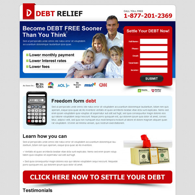 become debt free sooner most effective attractive and converting lead gen debt landing page Debt example