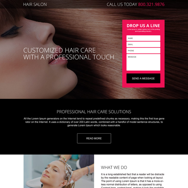 professional hair salon service landing page design Hair Care example