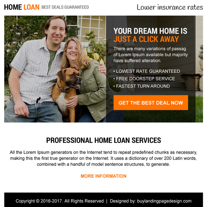 professional home loan service ppv landing page Home Loan example