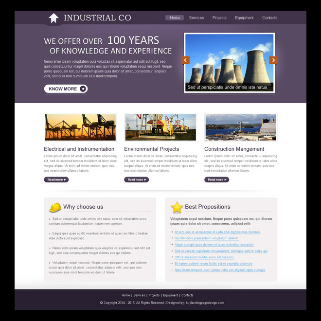 professional and informative industrial design psd for creating website Website Template PSD example