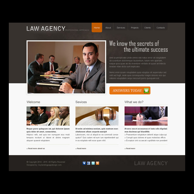 professional and clean law agency website template design psd Website Template PSD example