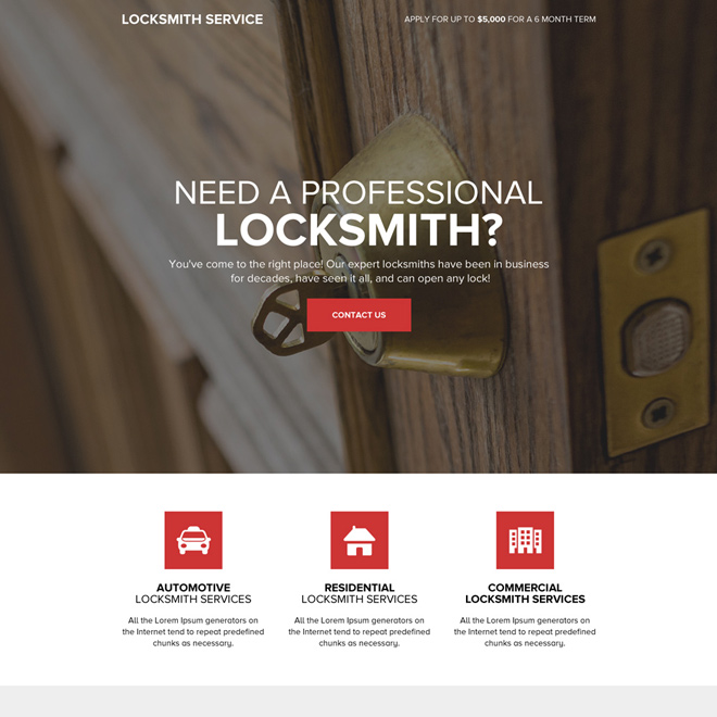 professional locksmith services call to action landing page Locksmith example