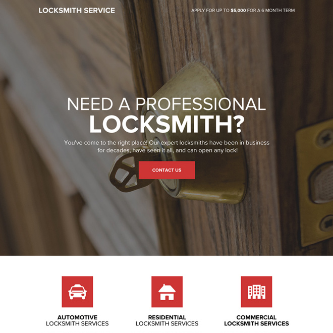 professional locksmith service responsive landing page design Locksmith example