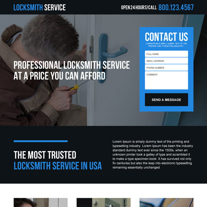 professional and affordable locksmith service in USA lead gen landing page Locksmith example