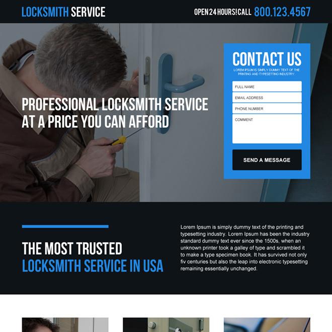 professional locksmith service in USA responsive landing page Locksmith example