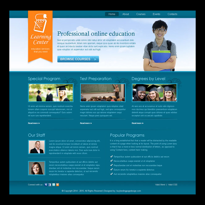 professional online education service website template design PSD Website Template PSD example