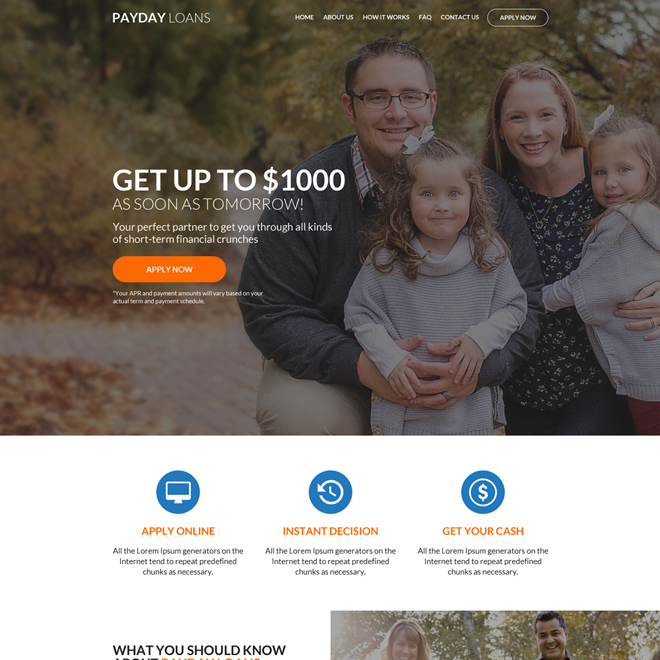 professional payday loan responsive website design Payday Loan example