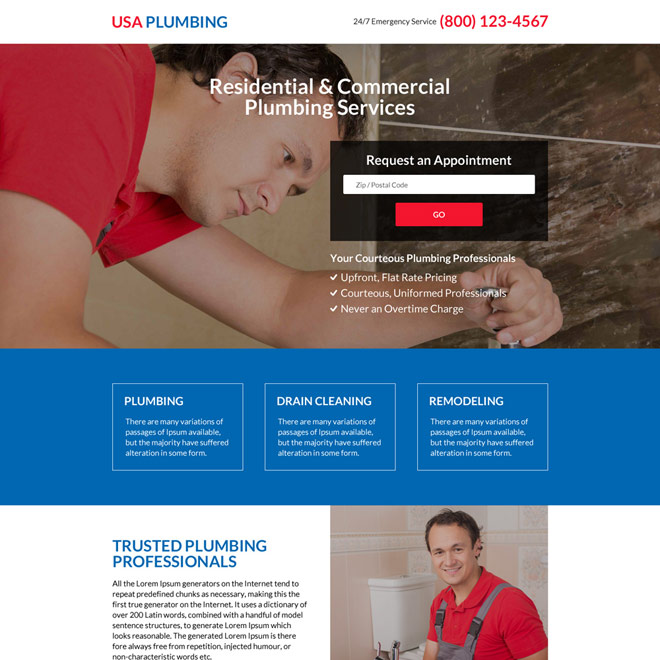 responsive residential and commercial plumbing service landing page Plumbing example