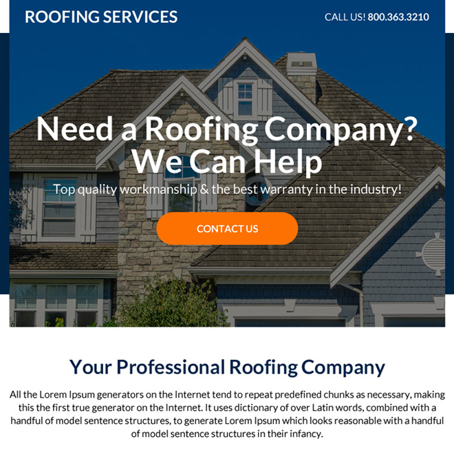 professional roofing services ppv landing page Roofing example