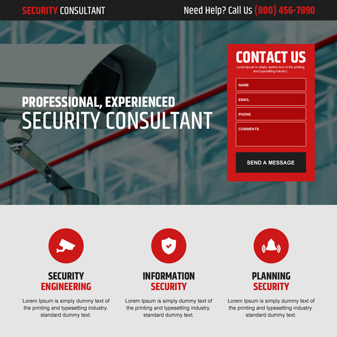 professional security consultant lead gen landing page design Security example