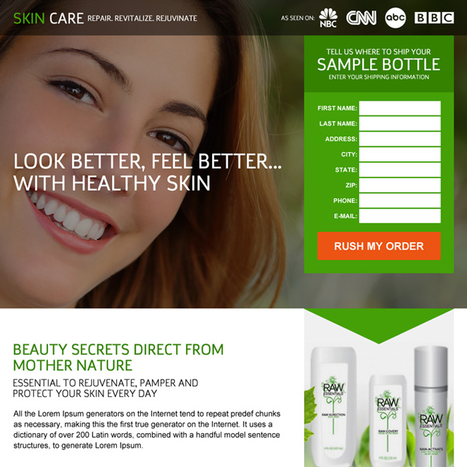 professional skin care trial lead capturing landing page design Skin Care example