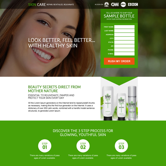 responsive skin care trial lead capturing landing page Skin Care example