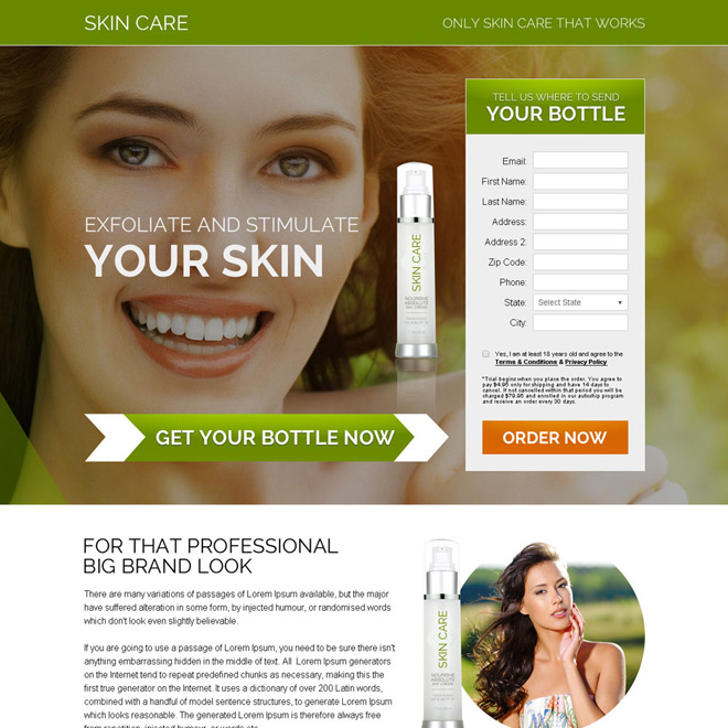professional skin care product bank page design Skin Care example
