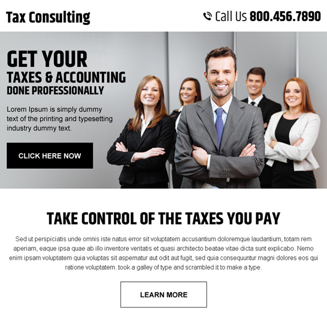 professional tax and accounting consultation service ppv landing page Tax example