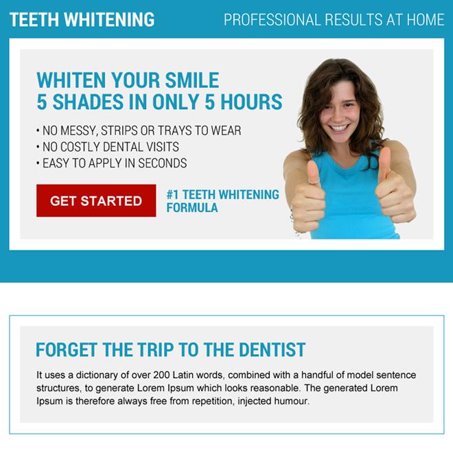 teeth whitening formula ppv landing page design Teeth Whitening example