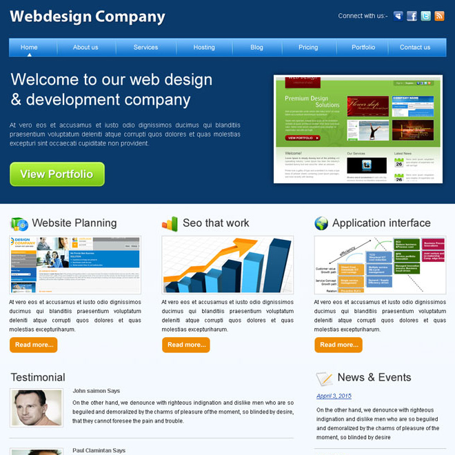 professional website template design company psd for sale Website Template PSD example