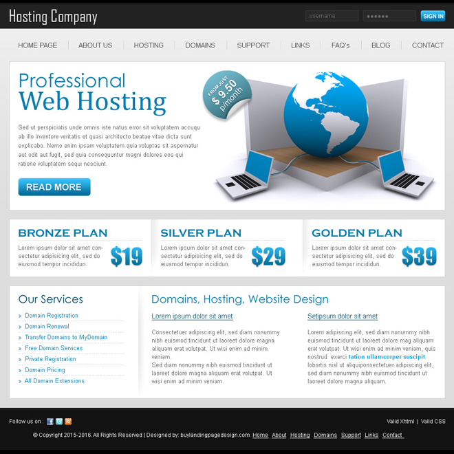 professional web hosting website psd for sale Website Template PSD example