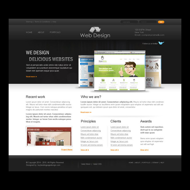 professional and creative web design company website template design psd Website Template PSD example