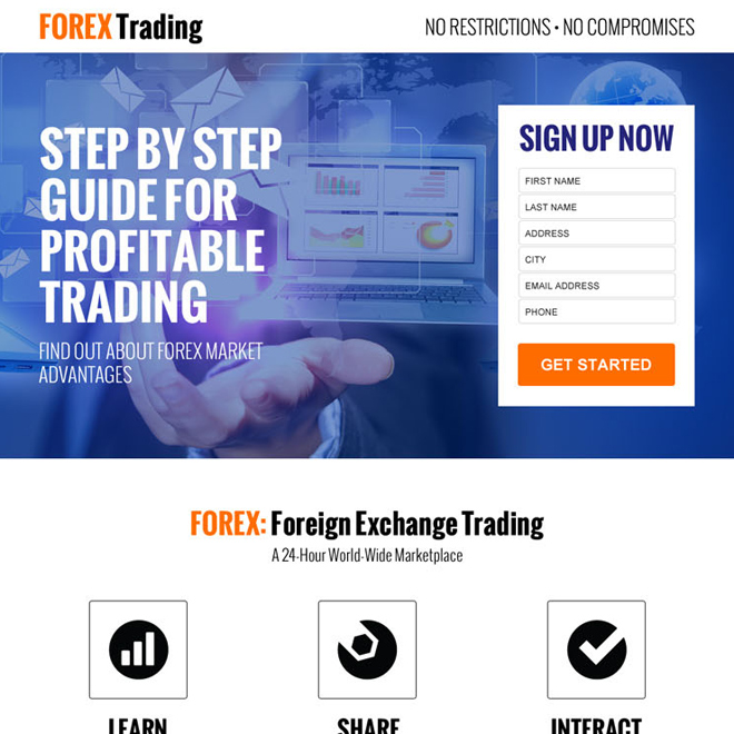 profitable forex trading sign up lead capture landing page design Forex Trading example