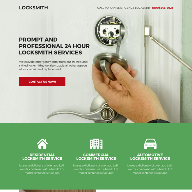 professional locksmith service bootstrap landing page Locksmith example