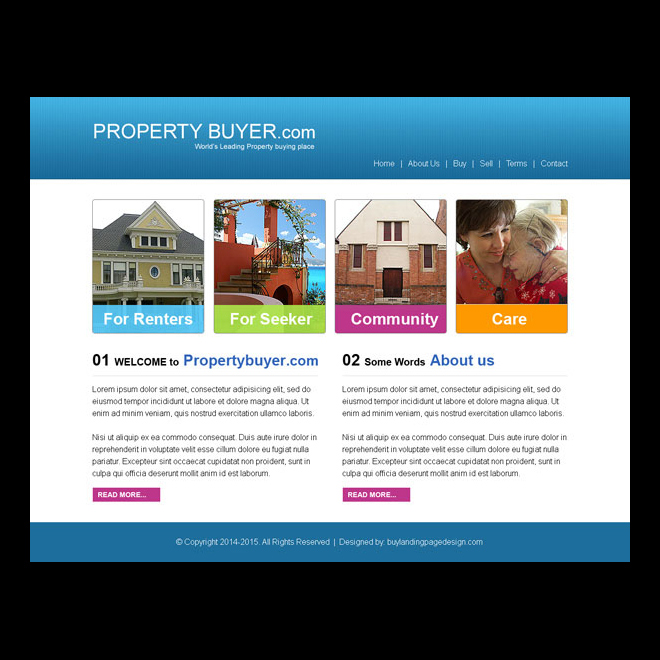 property buyer simple website template design psd Website Template PSD example
