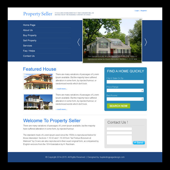 property seller clean and effective website template design psd Website Template PSD example