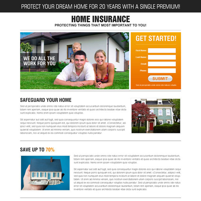 safe guard your home high converting lead gen splash page design Home Insurance example