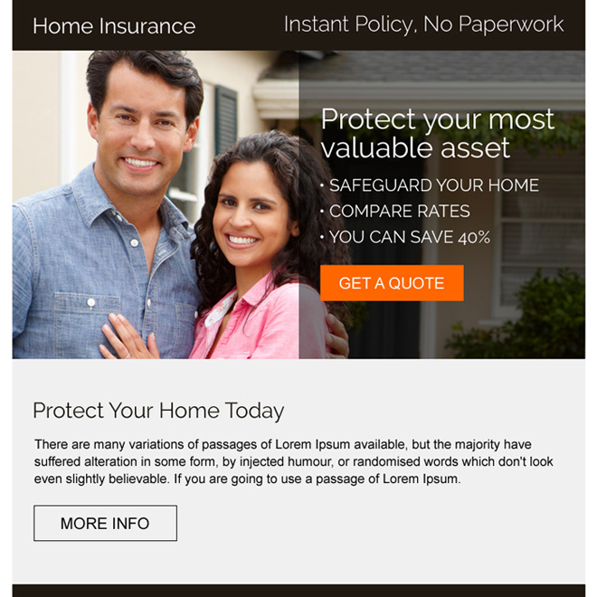 professional home insurance strong call to action ppv landing page Home Insurance example