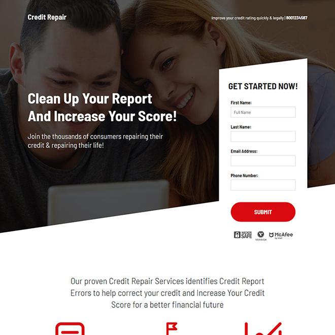 bad credit repair and restoration consultation landing page Credit Repair example