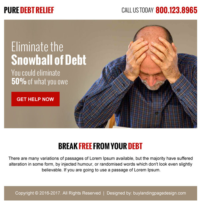 pure debt relief call to action ppv landing page Debt example