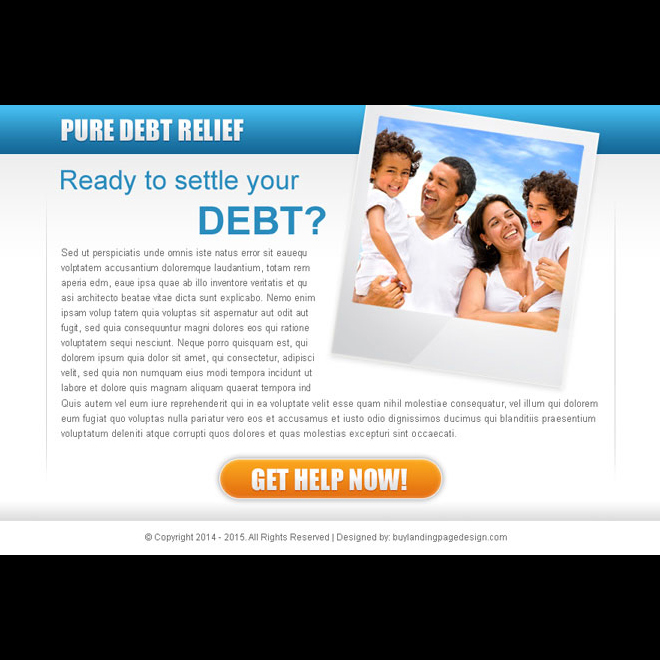 pure debt relief ppv landing page design template for debt settlement business PPV Landing Page example
