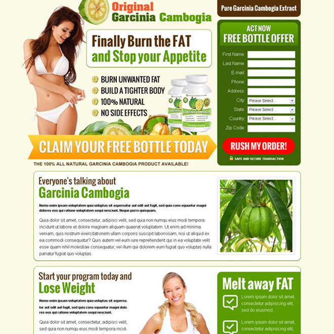 pure garcinia cambogia extract to lose your weight product selling lead capture landing page design template Weight Loss example