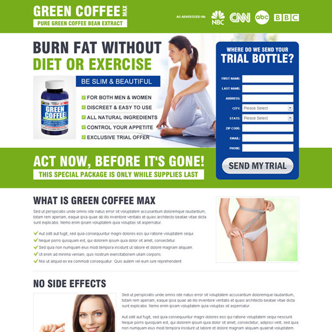 burn fat without diet or exercise green coffee weight loss product lead capture design Weight Loss example