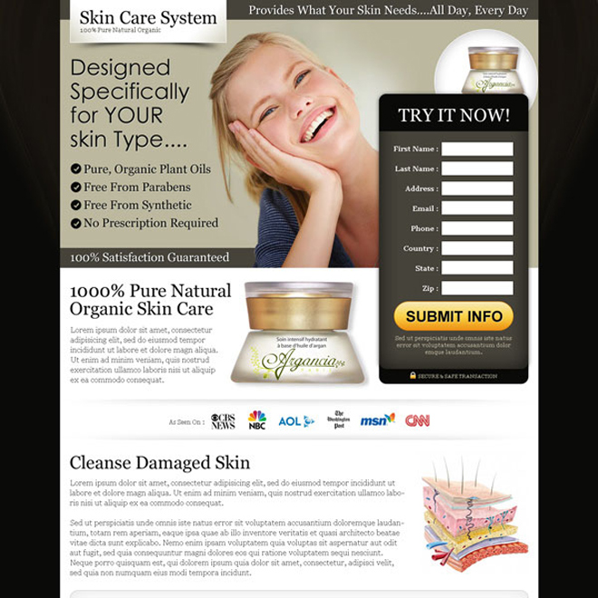 pure natural organic skin care product landing page to boost your traffic and sale of your skin care product Skin Care example