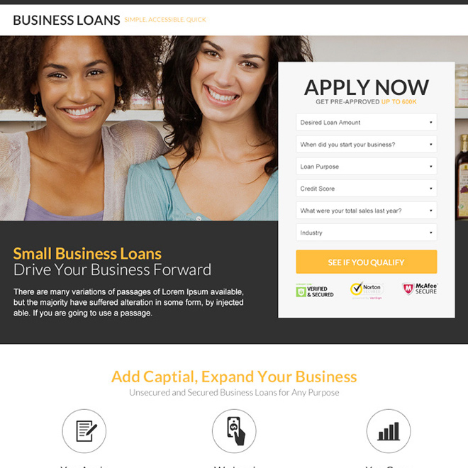 modern and best small business loan lead capture landing page Business Loan example