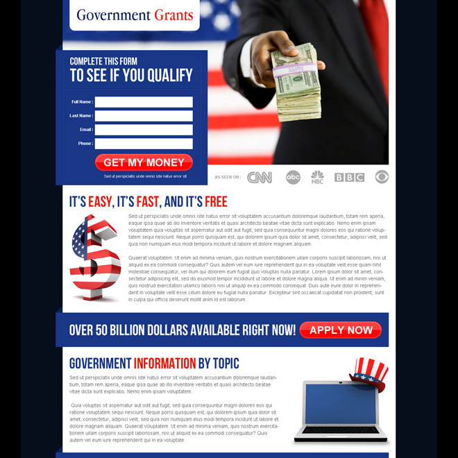 government grants landing page design templates for