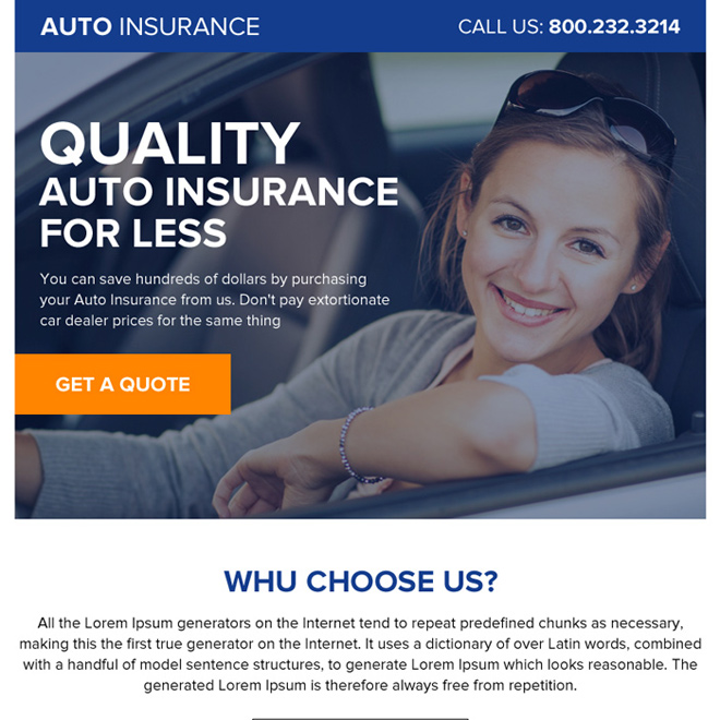 quality auto insurance ppv landing page design Auto Insurance example