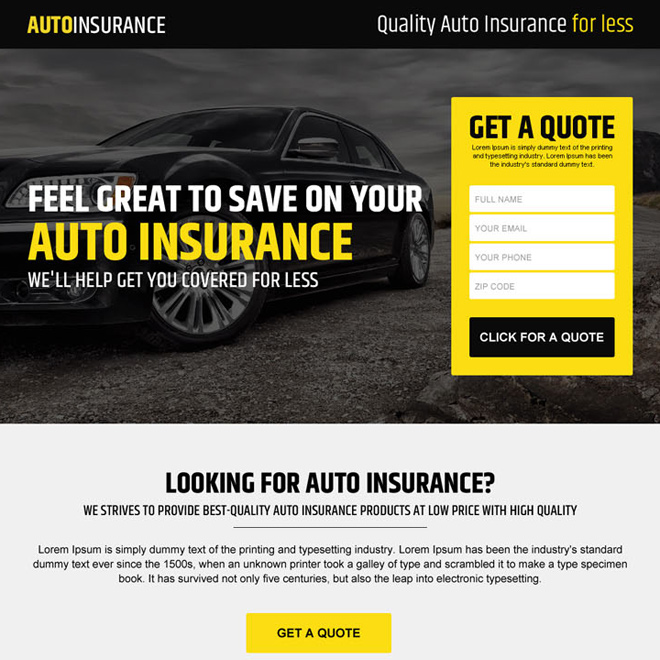 quality auto insurance free quote responsive landing page Auto Insurance example