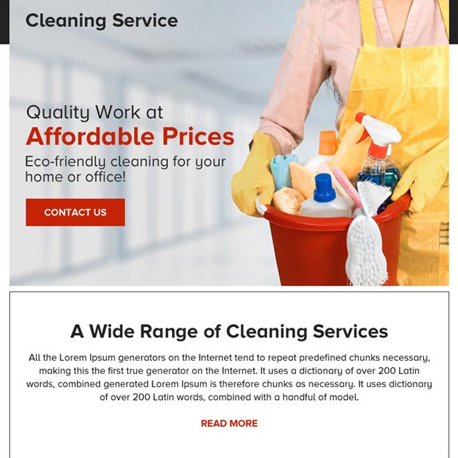 quality cleaning service contact capturing ppv landing page Cleaning Service example