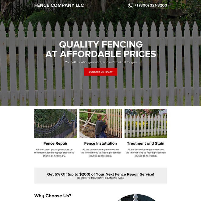 quality fencing services minimal landing page design Fencing example