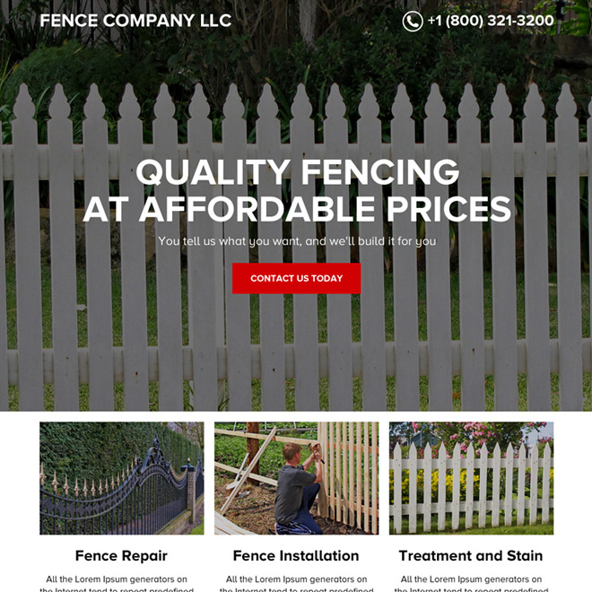 quality fencing services responsive landing page design Fencing example