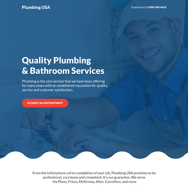 quality plumbing and bathroom services bootstrap landing page Plumbing example