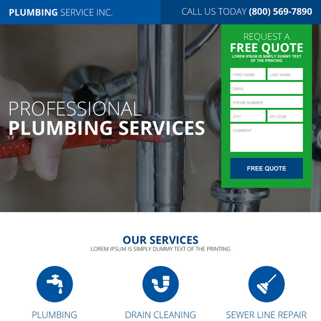 quality plumbing service lead magnet responsive landing page Plumbing example