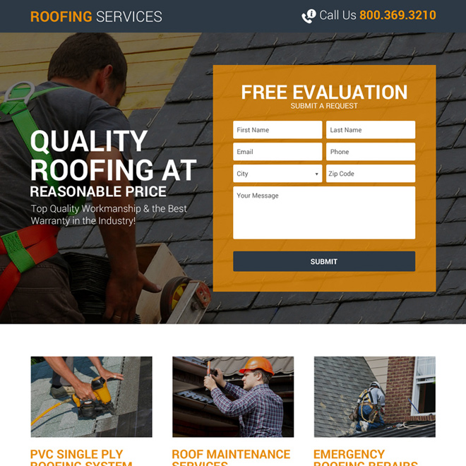 quality roofing lead generating landing page design Roofing example