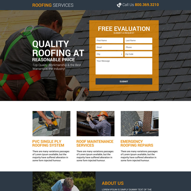 quality roofing services responsive landing page Roofing example