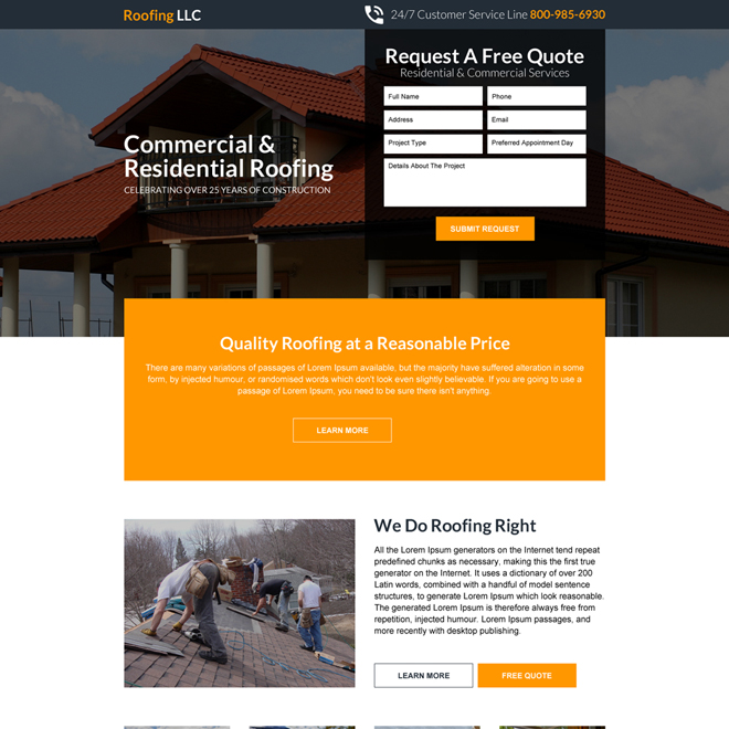 commercial and residential roofing landing page design Roofing example