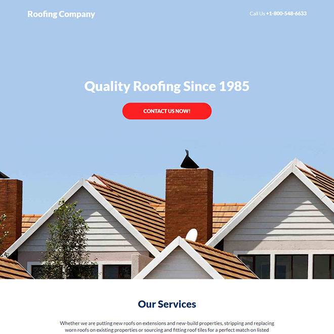 roofing company responsive lead capture landing page design Roofing example